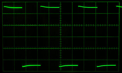 oscilloscope display of 300 Hz square wave before mods